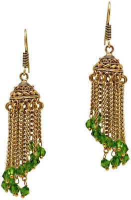 Jaipur Mart Spiral Green Crystal with Chain Crystal Alloy Jhumki Earring