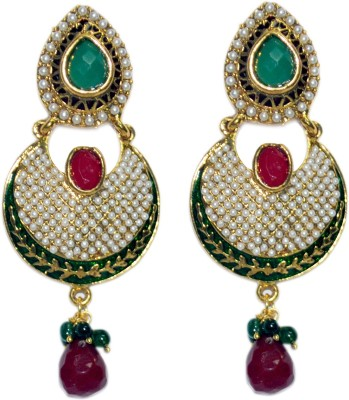 ACW Gold Plated Danglers with Pearls, Green and Maroon Stones Earrings for Women Alloy Dangle Earring