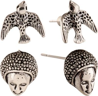 Anokhi Ada Human Face and Bird Metal Stud Earring