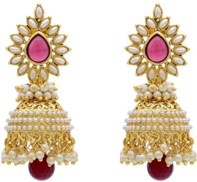 Jewel Shine Jhumki_red Alloy Jhumki Earring