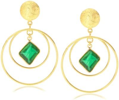 Made By M Crystal Brass, Nickel Drop Earring