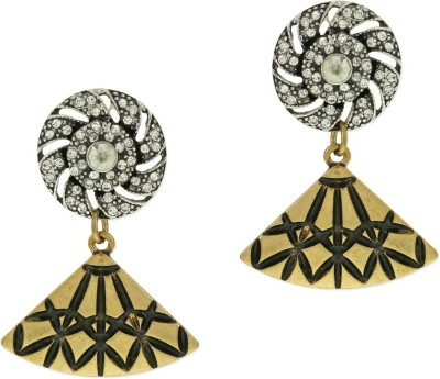 Oomph Gold & Black Crystal Jewellery for Women & Girls Metal Drop Earring
