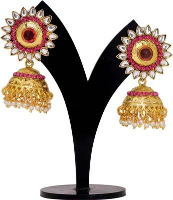 Jaipur Mart Pink Crystals Round Kundan Tops Alloy Jhumki Earring