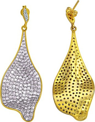 The Fine World Abstract White Zircon Metal Drop Earring