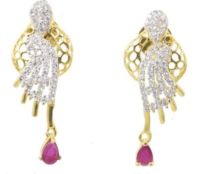 Jewelskaro American Diamond Ruby Brass Dangle Earring