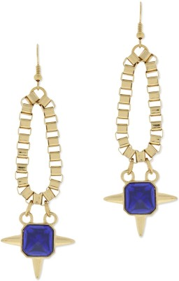Oomph Gold & Blue Crystal Fashion Jewellery for Women, Girls & Ladies Metal Dangle Earring