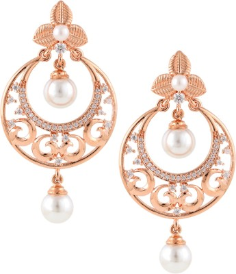 Beautiart Pink Gold Pearl Cubic Zirconia Alloy Chandbali Earring