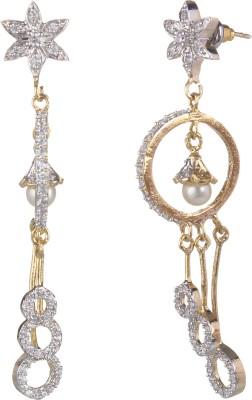 SAADGI Designer gold plated American diamond pearl drop Cubic Zirconia, White Zircon, Zircon Metal Drop Earring