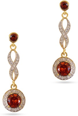 R S Jewels Garnet Stone Cz Studdes Gold Plated Fashion Jewellery Cubic Zirconia Alloy Drop Earring