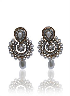 Glam Attires Pearl Studded Alloy Chandbali Earring