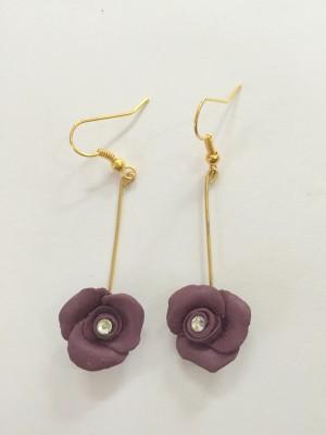 Craffiti Rose Clay Ceramic Drop Earring