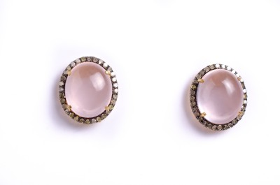 My DT Lifestyle Victorian Style EARING Quartz Yellow Gold Stud Earring