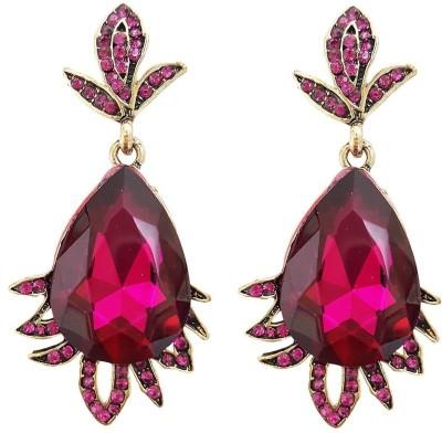 Mehrunnisa Elegant Pink Crystal Metal Drop Earring