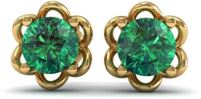 R S Jewels Creative Designs Yellow Gold 18kt Diamond, Emerald Stud Earring