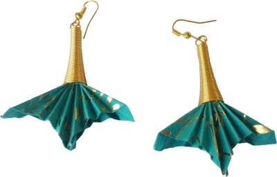 Origami Noshi Blue & Gold paper Fan Alloy Dangle Earring