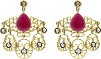 Eighth Fold Red Antique Design Agate Brass Drop Earring