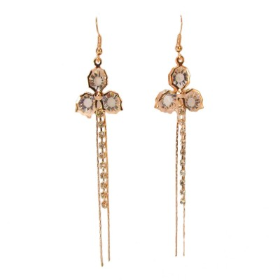 Bandish Gold-Toned Stone-Studded Floral Multistranded Metal Dangle Earring