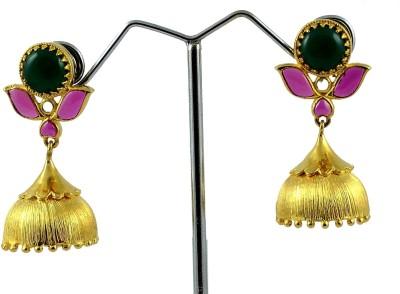 Maalyaa Ad Stud Jhumka Brass, Copper Jhumki Earring