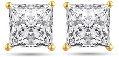 Jewels Guru ADsqrstud1 Cubic Zirconia Brass Stud Earring