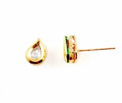 Parshwa Jewellery Kundan Earrings Cubic Zirconia Brass Stud Earring