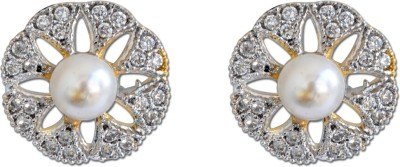 Enzy Diamond & Pearl Tops Alloy Stud Earring