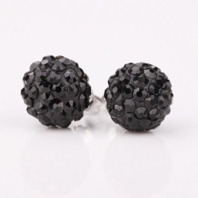 iSweven 1CM Black Round Rhinestone Shambhala Latest Fashion Luxury Gift ED2652 Zircon Alloy Stud Earring
