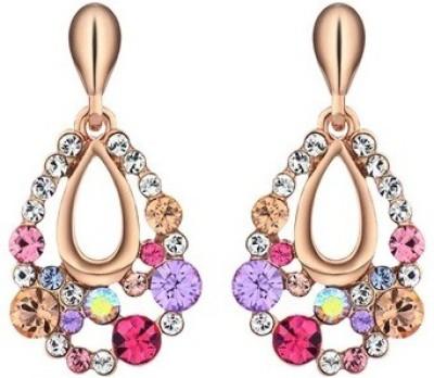 Wearyourfashion Multicolour Flower Swarovski Crystal Alloy Drop Earring
