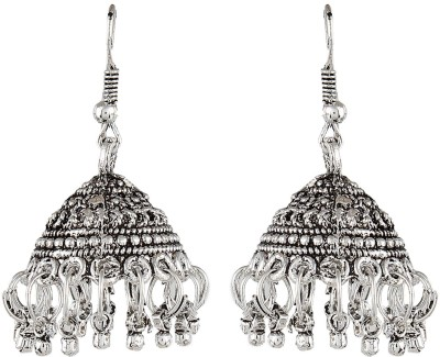 Crazytowear Oxidised Black Metal Alloy Jhumki Earring