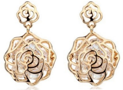 Nexessories Rose With Moving Diamonds Metal Drop Earring