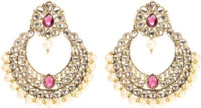 Arum Arum Traditional Pink Kundan Fashion Earrings Alloy Chandelier Earring
