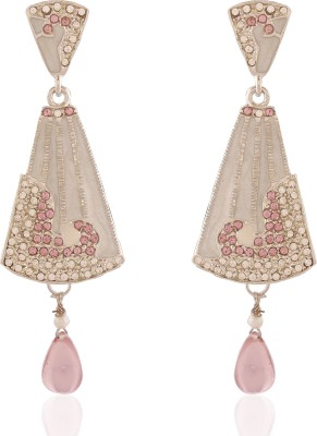 AccessHer Light Purple Stones Brass Drop Earring