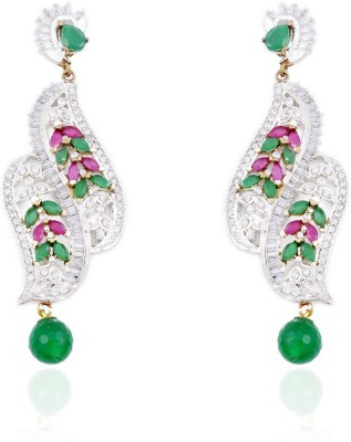 Aapno Rajasthan Cubic Zirconia, Ruby, Onyx, Emerald Alloy Drop Earring
