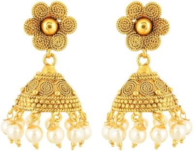 tsb RETAILS ER-0064 Pearl Brass Jhumki Earring