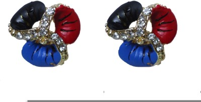 Modish Look Multicolor Small Tops Brass Stud Earring