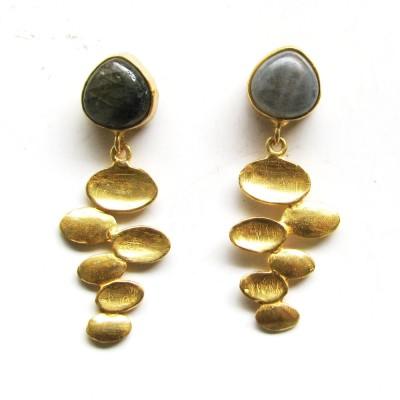 Bhrti semi precious Gold plated Labradorite Brass Dangle Earring
