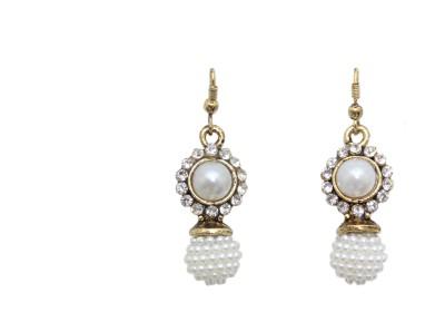 Greek Sojourn F3B76 Pearl Brass Drop Earring
