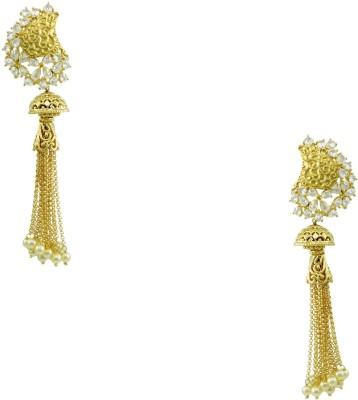Orniza Victorian Latest Design Earrings in Clear Color Brass Jhumki Earring