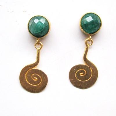 Bhrti semi precious Gold plated Emerald Brass Dangle Earring