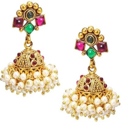 Satyam Jewellery Nx Red & Green Pearl Jhumka Copper Jhumki Earring