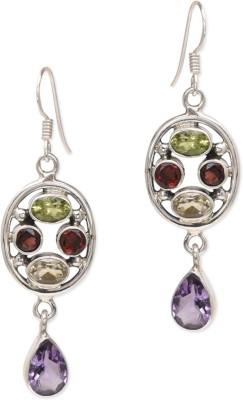 Watch Me Multicoloured Amethyst Danglers- Light Amethyst, Garnet, Peridot Sterling Silver Dangle Earring