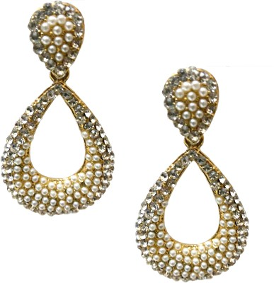 Utopian White Pearl and Stone Drop Alloy Drop Earring