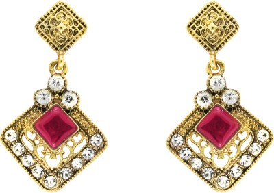 Donna Pink Square Kite Crystal Metal Drop Earring