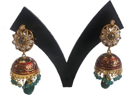 PatelBrothers Meenakari Jhumka Copper Jhumki Earring