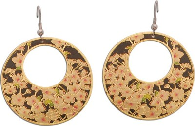 The Fine World Goldens with a design inspired by a bouquet of flowers Zircon Brass Dangle Earring