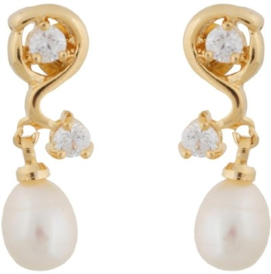 Classique Designer Jewellery Pearl With Stone Alloy Drop Earring