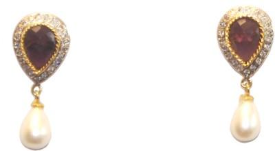 Women Trendz Stone Cz Golden Polish Brass Drop Earring