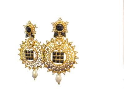 Ratnaraj India Partywear Gold Polish Yellow Gold Plated Preal Copper Chandbali Earring