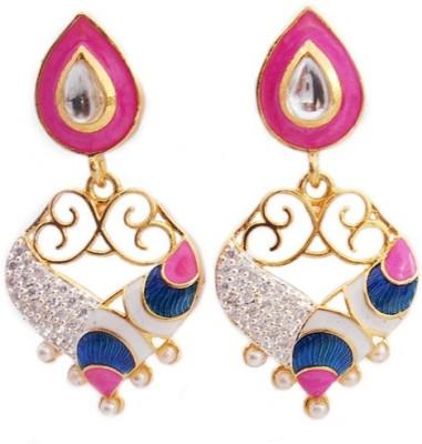 MK Jewellers DESIGNER PINK AND WHITE MEENAKARI CUM AD STONE EARING Brass Dangle Earring