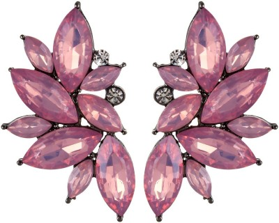Oomph Gold & Purple Pink Floral Fashion Jewellery for Women, Girls & Ladies Metal Stud Earring
