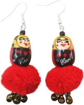 Juhi Malhotra Black And Red Doll Wood Drop Earring